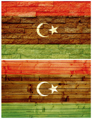 Vintage wall flag of Libya collage