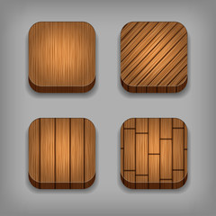Set of wood textured buttons