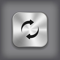 Refreshment - media player icon - vector metal app button