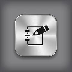 Notepad icon - vector metal app button