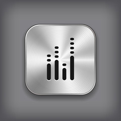 Equalizer icon - vector metal app button