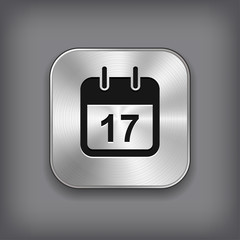 Calendar icon - vector metal app button