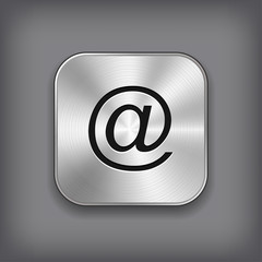 Mail icon - vector metal app button