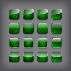 Set of blank green buttons