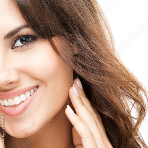 Portrait of beautiful woman, on white
