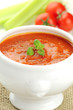 Fresh vegetarian tomato and celery soup