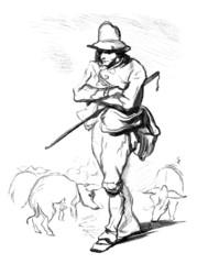 Pig-Keeper - Porcher - Schweinehirt - 19th century