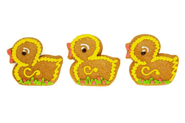 Easter Gingerbread Ducks Isolated on White