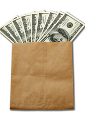 money of USA in paper envelop