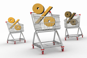 three shopping carts with percent sign.