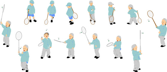 Fourteen figures of vector kid playing badminton