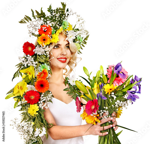 Woman with make up and flower.