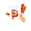 Funny Chef and delicious hot skewers of lamb.Vector