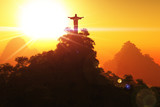 Corcovado Mountain in the Sunset 3D render