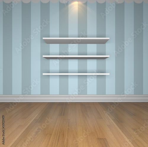 Blue wall shelves