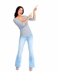 Happy woman showing a copyspace.
