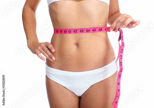 Young woman with a measuring tape.