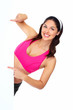 Young beautiful fitness woman with banner.
