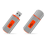 illustration of orange usb pen drive memory