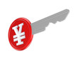 Symbol of yen on a key.