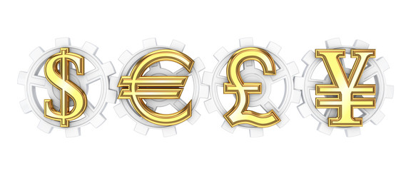 Dollar, euro, yen and pound sterling signs.