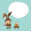 Bunny Handcart Basket Speech Bubble Retro Dots