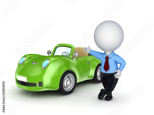 3d small person selling the car.