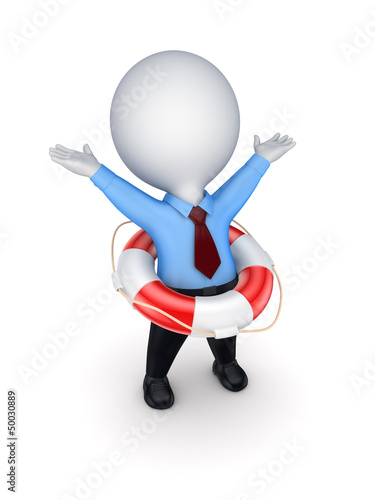 3d small person with lifebuoy.