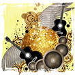 Gold disco ball on yellow background