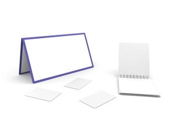 Calendar, notebook and cut-aways