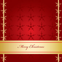 Red Christmas Card with Golden Banner