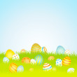 20 Easter Eggs Blue/Yellow/Orange Background Meadow Sky