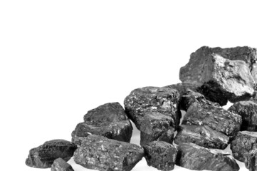Coals on white background