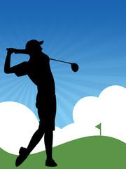 Ilustração - Jogador de golfe batendo uma bola