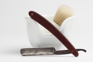 shaving equipment on white