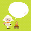 Sheep Handcart Basket Speech Bubble Green Dots