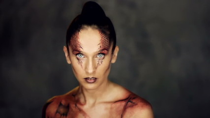 Woman with snake body art