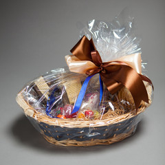 gift basket on grey