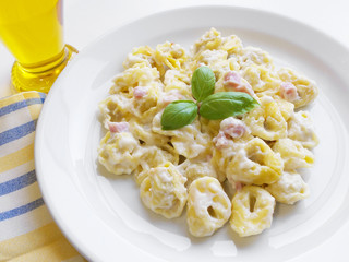 Italian Pasta Tortellini Ham And Cream