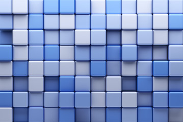 Abstract background of blue cubes. 3D Illustration © Alexander
