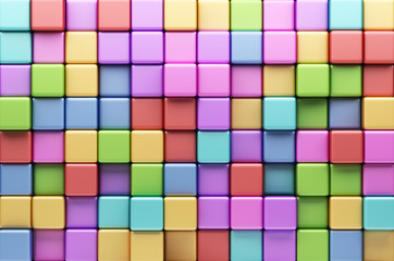 Abstract background of multi-colored cubes. 3D Illustration