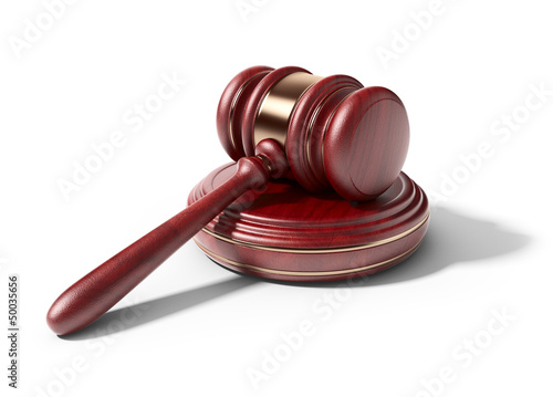 Wooden gavel. LAW concept. 3D Icon isolated