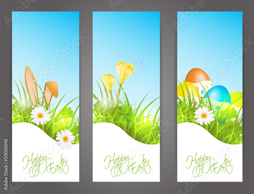 three banners with easter motive