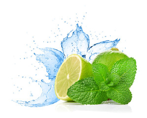 lime and mint on water splash
