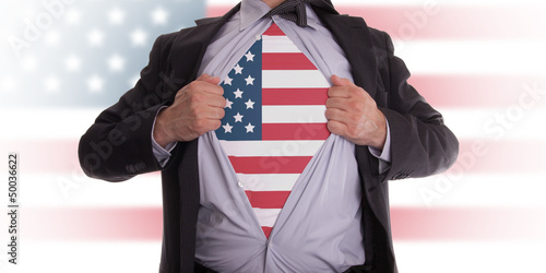 Poster Business man with USA flag t-shirt