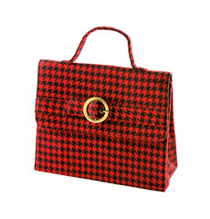Red houndstooth checker handbag