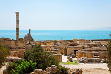 Ruins of ancient Antonine Baths in Carthage.