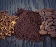 Set of instant, ground coffee and coffee beans