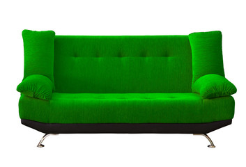 green sofa on white background