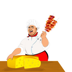 Funny Chef and delicious hot skewers of lamb with dairy cheese